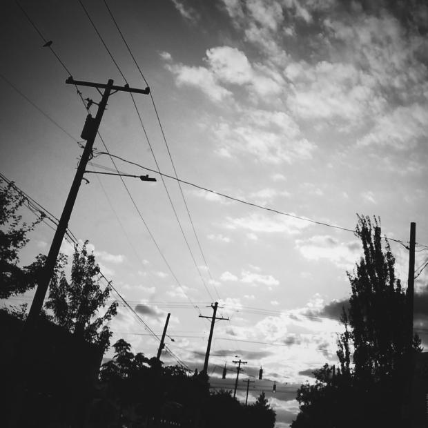 terrible creative blog, black and white sunset, clouds, dusk, dark landscape