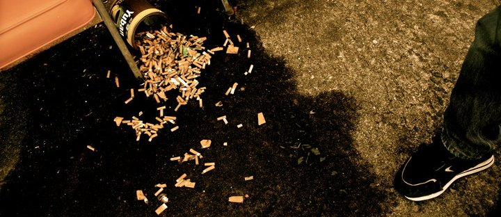 cigarette butts, ash tray, smoking is gross